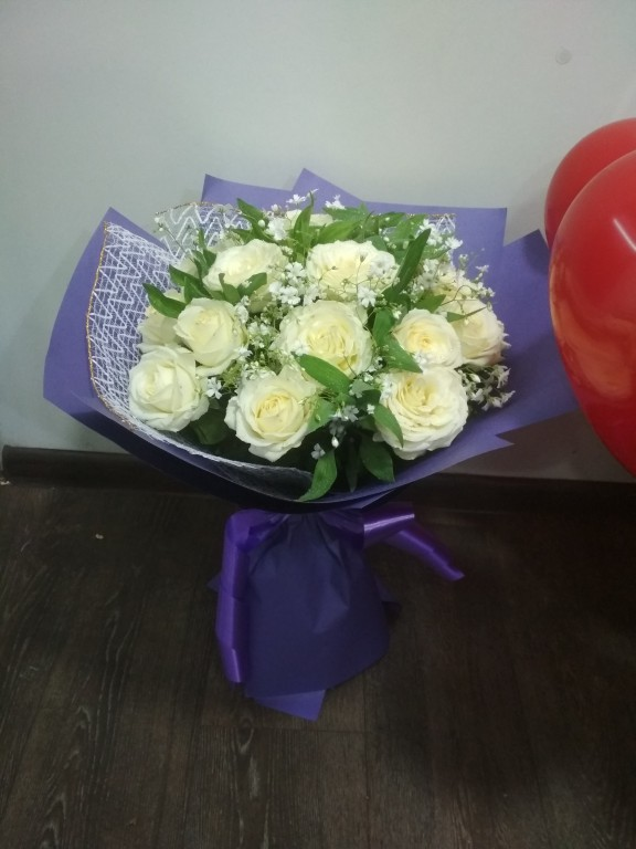 Букет местная белая роза-25 роза